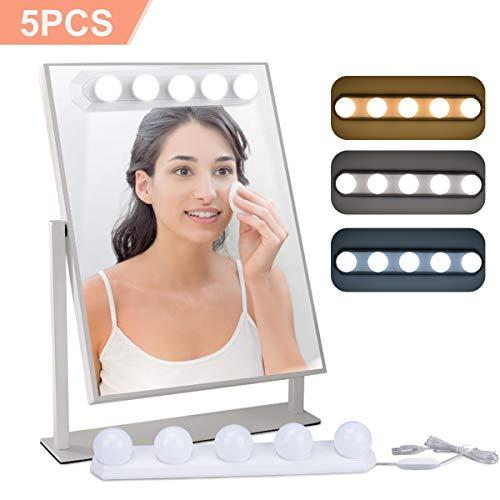 Luces para Espejo de Maquillaje LED Lámpara de Espejo Cosmético de Tocador con Estilo Hollywood 5...