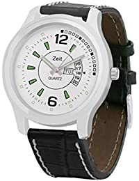 ZEIT White dail and Black strap with day and date