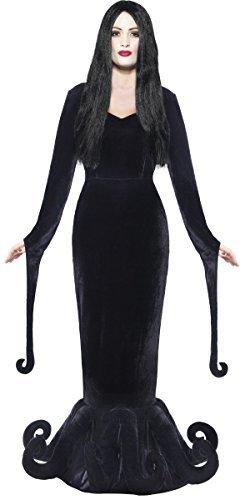 Damen Morbid Geliebte Morticia Gothic-hexe Ursula Octopus Halloween Kostüm Kleid Outfit 8-18 - Schwarz, (Ursula Halloween Kostüme)