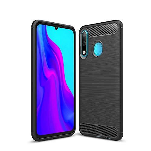 cookaR für Motorola One Vision Hülle, Carbon Fiber/Kohlefaser Handyhülle, Soft Silikon Ultra Dünn Case Cover Schutzhülle für Motorola One Vision Smartphone, Schwarz