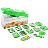 DarkPyro 14 In 1 Vegetable And Fruit Slicer Dicer Chipser Grater Cutter Chopper Unique Deluxe Model With Multiple Blade Veg Cutter And With Unbreakable Food Grade Poly Carbonate Body And Heavy Stainless Steel Blades Chopper (Green)