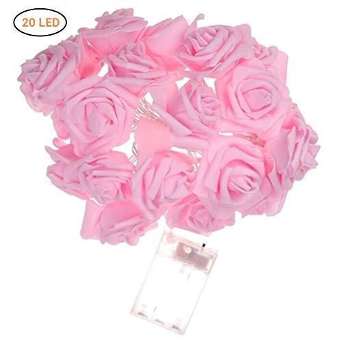 Rose Lichterkette mit 20 LED warm weiß Batterie transparentes Kabel Lichterkette mit Blumen Kunstblumen Romantische Atmosphäre Deko für Innen (Halloween Tumblr Hintergrund)