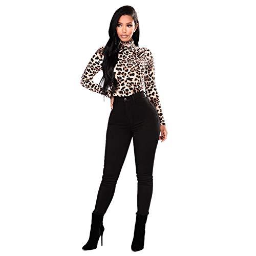 Blusa Mujer, Cuello Alto Camiseta De Manga Larga Blusa Estampada Leopardo(S)