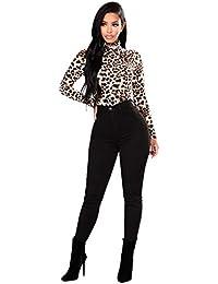 Blusa Mujer, Cuello Alto Camiseta De Manga Larga Blusa Estampada Leopardo
