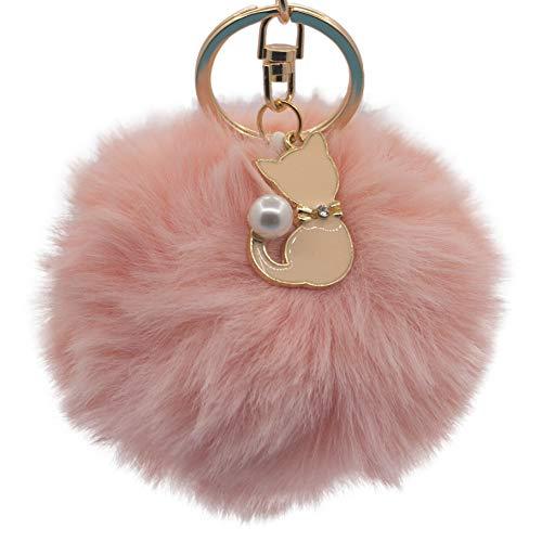 Llavero de Piel de Gato Rosa con pompón de Piel Artificial, Llavero con pompón Esponjoso para el día de San Valentín, Bolsa de Regalo Colgante