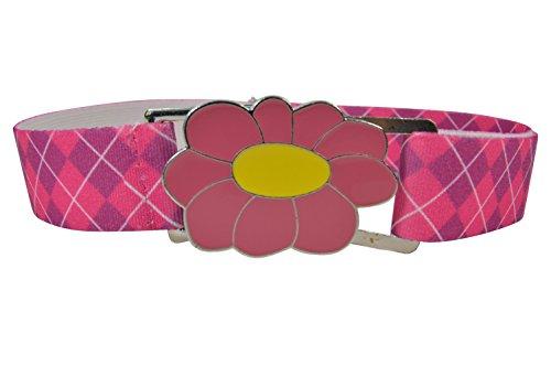(Elastischer Gürtel für Mädchen 1-11 Jahre, voll einstellbar mit große Schnalle - Tartan Rosa / Blumen Rosa)