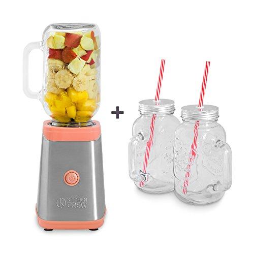 Lemonade Jar (Mason Jar Smoothie Maker (350 Watt) inkl. 4 Henkelgläser von KITCHEN CREW Edelstahl Mini-Standmixer, Shaker, Blender aus Edelstahl mit Tritan Trinkflasche (0,6 l) & 4 Trinkgläser (0,5 l), BPA-FREI!)