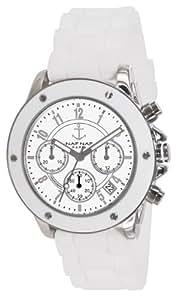 Naf Naf - N10049-201 - Régate - Montre Femme - Quartz Chronographe - Cadran Blanc - Bracelet Silicone Blanc
