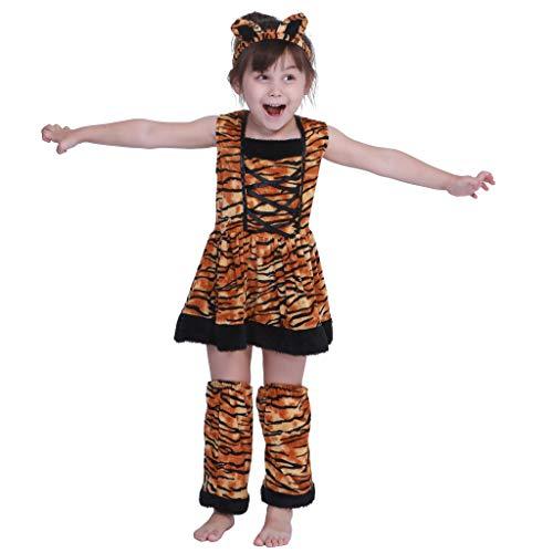 EraSpooky Halloween Mädchen Niedliche Kleine Tiger Kostüm Kleid Set