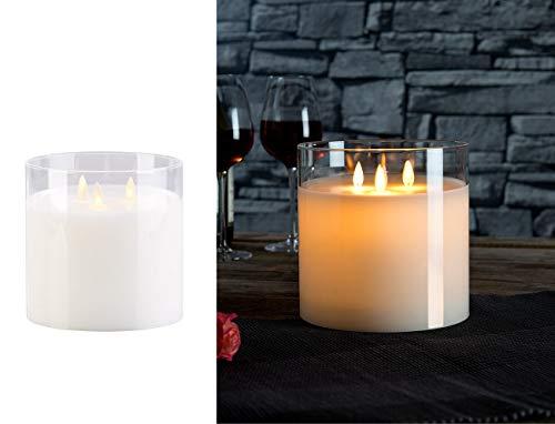Britesta Windlicht: LED-Echtwachs-Kerze im Windglas mit 3 beweglichen Flammen, weiß (LED Echtwachskerze)