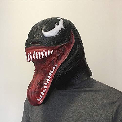 Edelehu Black Venom Spider Halloween Maske Scary Gruselige Horror Cosplay Kostüm Bandana Latex Scary Kopf Zombie ()