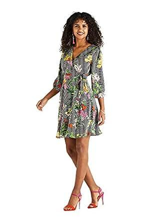 af4658395ab YUMI Striped Wild Flower Wrap Dress  Amazon.co.uk  Clothing
