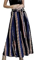 Fulok Womens Stand Stripe Loose Sexy Side Slit Wide Leg Pants S Blue