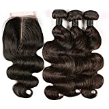 BLISSHAIR 8 inch Human Hair Weave Extensions Brésiliens Hair Perruque 3 Bundle trame + 1 closure