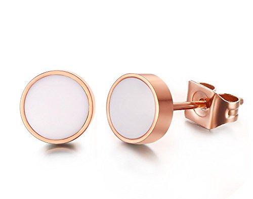 Vnox Edelstahl runder weißer Emaille Bolzen Ohrring Rosen Gold der Frauen Rose Ohrring 18g