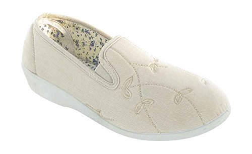 Mirak Damen Bessie Twin Zwickel Canvas Slip On Schuhe Beige
