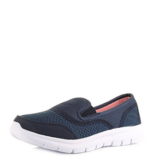 Womens Air Tech Reef Navy Blue White Comfort Slip On Trainers SIZE...
