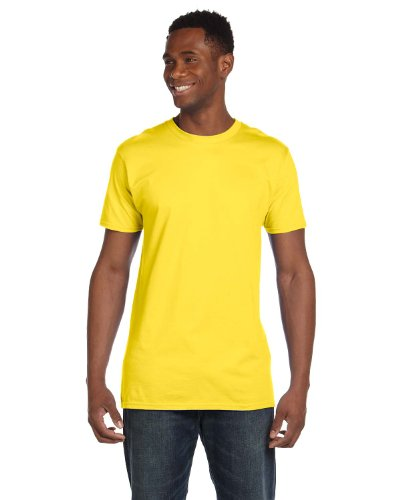 Hanes 4980 Mens Nano T-Shirt 1 Vintage Denim + 1 Yellow