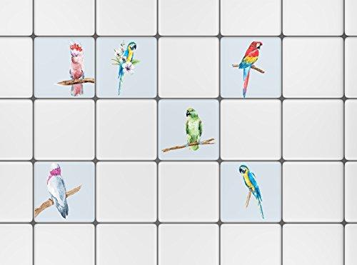 PLAGE Loros Fliesen Sticker-Papagei, Vinyl, Bunt, 15 x 0.1 x 15 cm