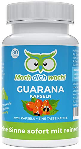 Guarana Kapseln ohne Zusatzstoffe - Qualität aus Deutschland - deutsche Laboranalytik - kleine Kapseln statt große Tabletten - 50mg Koffein / Kapsel - veganes Guarana Pulver - Mach dich wach!®