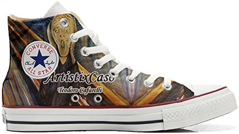 Converse all Star Scarpe Personalizzate (Scarpe Artigianali) Urlo di Munch | Moda moderna ed elegante  | Scolaro/Signora Scarpa