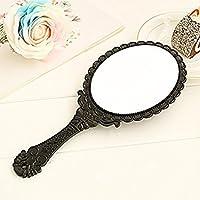 Espejo vintage con diseño estampado floral; espejo de mano para maquillaje negro, de la marca Ungfu Mall