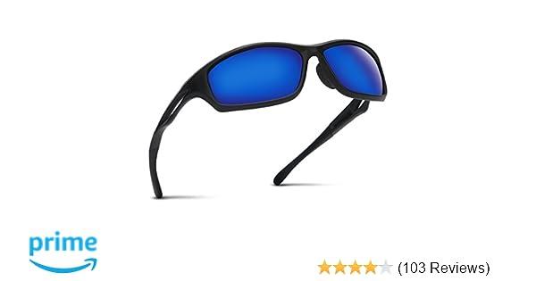 09b2b7b1dfd862 Occffy Polarisierte Sportbrille Sonnenbrille Fahrradbrille mit UV400 Schutz  für Herren Autofahren Laufen Radfahren Angeln Golf TR90 (599 Schwarze Matte  ...