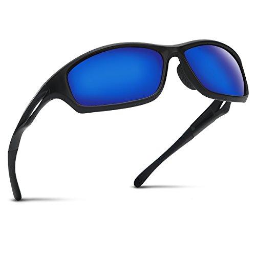 Occffy Polarisierte Sportbrille Sonnenbrille Fahrradbrille mit UV400 Schutz für Herren Autofahren Laufen Radfahren Angeln Golf TR90 (599 Schwarze Matte Rahmen mit Blaue Linse) -