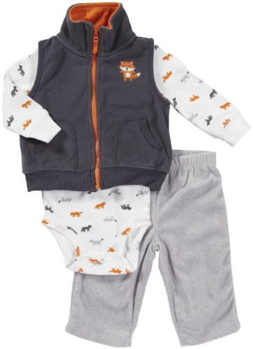 CARTER'S 3 teilig Weste Body Hose Baby Junge Outfit Kleidung Kapuze boy 3 Teile Kombination (62/68, grau/weiss)