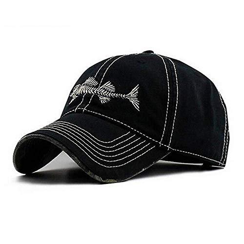 Herren Verstellbar Baseball Cap Angeln Style Gorras mit Fisch Knochen Dad Hüte für Männer, Herren, Fishing Baseball Cap, schwarz -