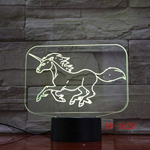 Joplc 3D LED Nachtlicht für Running Unicorn Light für Home Decoration Horse Lampe Geschenk Amazing Decor -