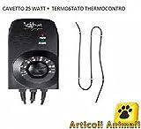 Cavetto riscaldante 25 watt con thermocontrol termostato per acquari e terrari