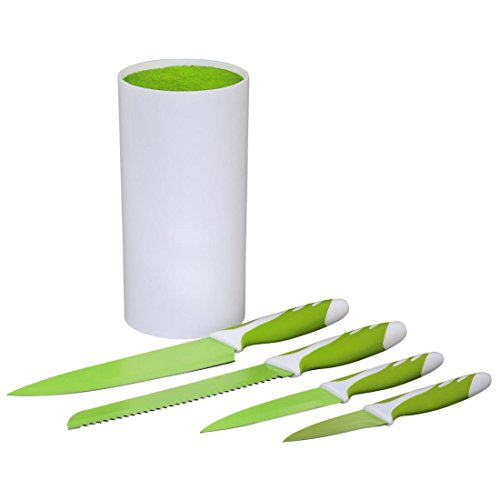 Xavax Messerblock Set mit vier Küchenmessern, gehärteter Stahl, gummierter Griff, grün/weiß