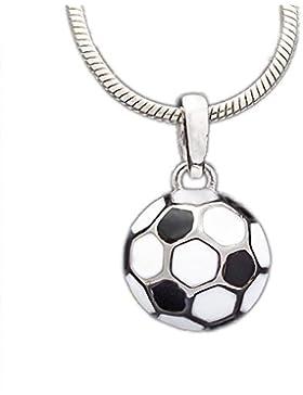 ASS 925 Silber Jünger Kinder Anhänger Fußball emailliert mit weiß und schwarz