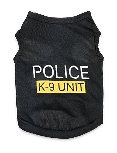 Polizei Hunde Kostüm Weste - DroolingDog Pet Polizei Kostüm Hundehunde- T-Shirt-Weste-K-9 Shirts für kleine Hunde groß (8.8lb-13.2lb) schwarz