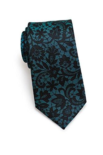 Blackbird Schmale Krawatte Herren, Romantisches Rankenmuster, 3 verschiedene Farben, 100% reine Seide, 7 cm Skinny/Slim Tie, Handarbeit (Türkis) -