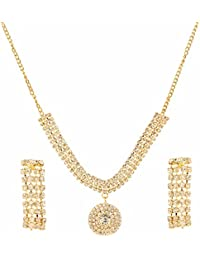 Parinaaz Designer Gold Plated Crystal Stylish Necklace Jewellery Set With Dangler Earrings For Girls - B07193WSZP