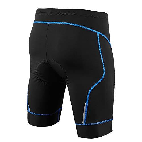 Cycorld Radsport-Gepolsterte-Shorts-Radhose-Fahrradhose für Herren (Schwarz/blau, 3XL(Taille:96.5-101.6cm)) (Lycra Hosen Herren)