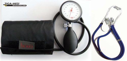 Profi-blutdruckmessgerät (Blutdruckmessgerät Oberarm Boso K 1 shock protected + Rappaport Doppelkopf Stethoskop Blau Stetoskop Doppelkopfstethoskop Tiga-Med)