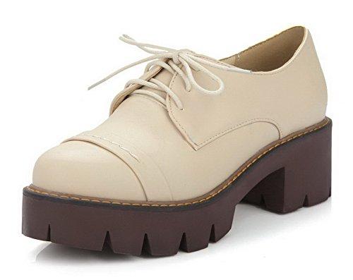 AgooLar Femme Pu Cuir à Talon Correct Rond Couleur Unie Lacet Chaussures Légeres Beige
