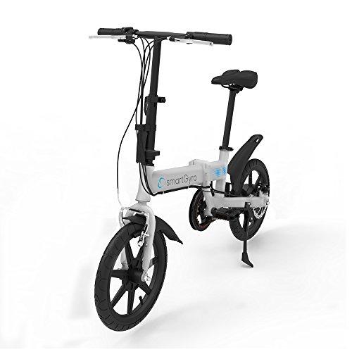 """SmartGyro Ebike Silver - Bicicleta Eléctrica, Ruedas de 16"""", Asistente al Pedaleo, Plegable, Batería extraíble de litio de 4400 mAh, Freno V-Brake y Disco, Autonomía 30-50 Km, color Plata"""