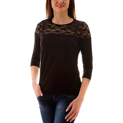 Alkato Damen 3/4 Arm Shirt mit floraler Spitze, Farbe: Schwarz, Größe: XL