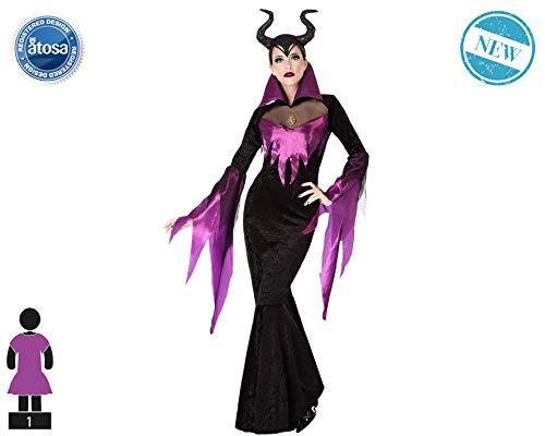 Atosa-61429 Atosa-61429-Disfraz Malvada-Adulto Mujer, Color violeta, M a L (61429
