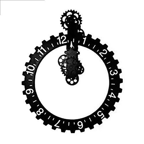 BGGZXX Reloj de Pared del Engranaje Mudo Creativo Montado en la Pared, Adecuado para Sala Habitación Sencillo,Black,D50.5cm