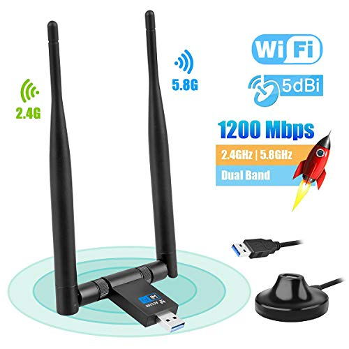 GuDoQi WiFi Adapter, WLAN Stick 1200 Mbps, Dual-Band Wireless WLAN Adapter und Empfänger (5GHz 867Mbps + 2.4GHz 300Mbps), USB3.0 WiFi Dongle für Windows XP 7/8/10/Mac OS/Desktop/PC