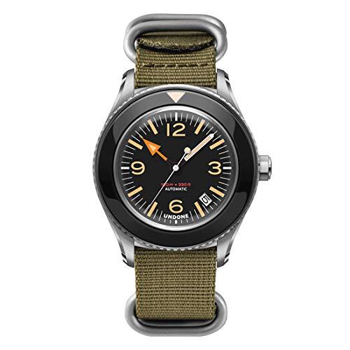 Undone Basecamp Militar Vintage Automático Acero Negro Tela Verde Fecha Hombre Reloj