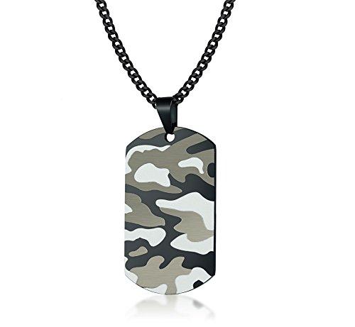 Vnox Edelstahl Camo Camouflage Dog Tag Anhänger Militär Armee Halskette