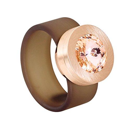 Heideman Ring Damen Colori Ring Rose aus Edelstahl Rosegold farbend matt Damenring für Frauen mit Swarovski Stein Kristall Weiss