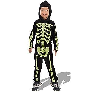 Carnival Toys - Disfraz mono esqueleto en bolsa, talla V, color verde fluorescente (68723)