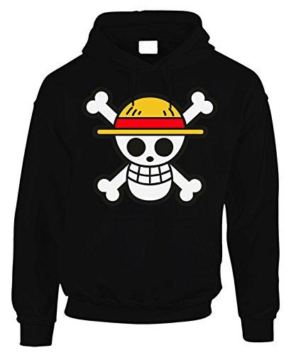 Felpa con cappuccio One Piece pirata cartoon Mugiwara Crew Cappello di paglia - in cotone by Fashwork Nero